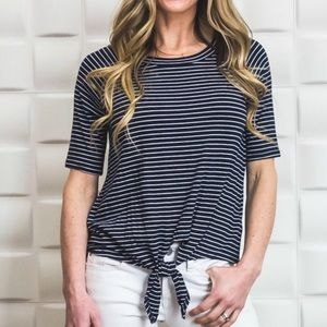 Tops - Black and White Striped Short Sleeve Tie Top